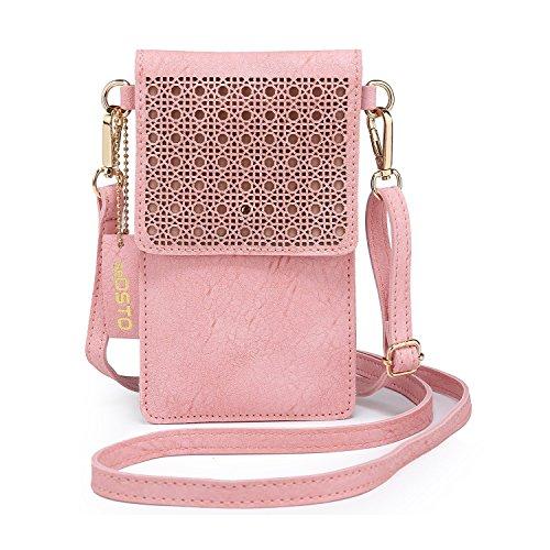 SeOSTO Handytasche, PU Leder Crossbody Tasche Mini Telefon Geldbörse mit zwei Schultergurte (Rosa)