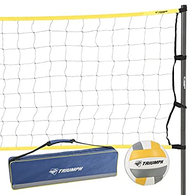 Triumph Competition Volleyball Set with Durable Three-Piece Steel Poles with Gunmetal Silver Powder-coating – Boundary Lines with Anchors, Guylines with Steel Eye-bolt Anchors and Inflation Pump and Needle Included