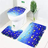 LAOSHIZI Bath Mat Soft Non Slip Bathroom Rug Sea Animal Print 3 Piece Sets Including Bath Mat Pedestal Mat and Toilet Seat Cover Tropical Fish