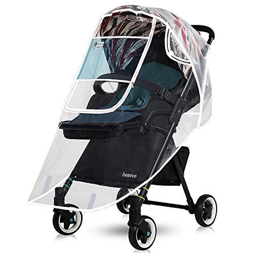 Universal Buggy Regenschutz - Komfort Regenverdeck für Kinderwagen, Buggy und Sportwagen - Baby Kinderwagen Glasklar EVA Regenschutz mit Reißverschluss - Gute Luftzirkulation - Augenschutz Fenster