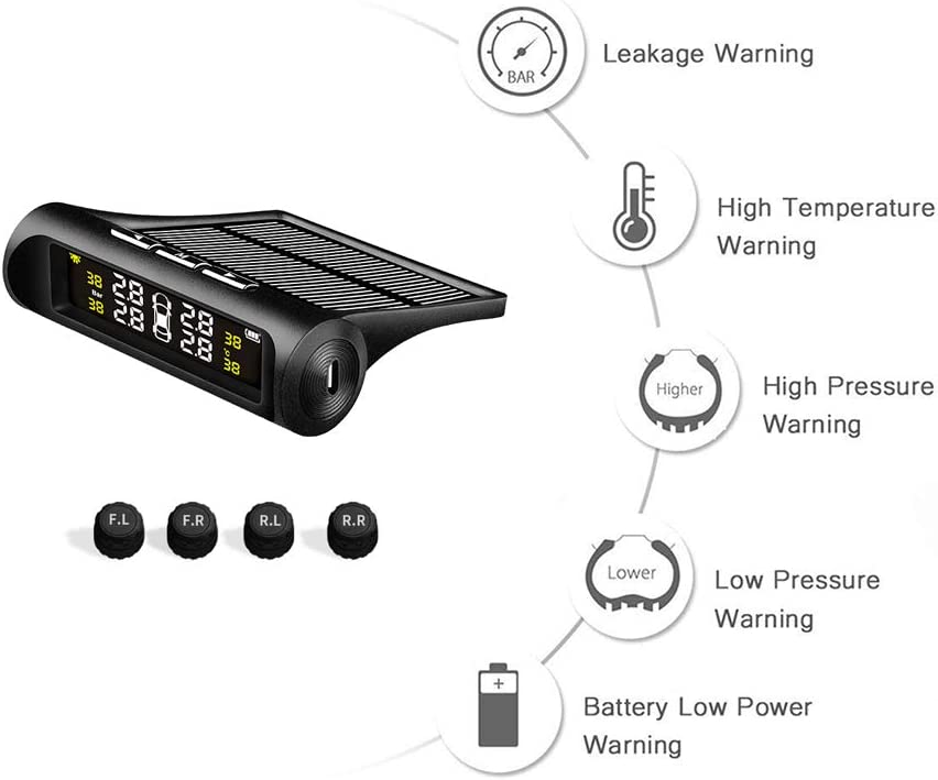 KINGELE Wireless Mini Solar TPMS Car Tire Pressure Monitoring System,Aftermarket Universal Wirless TPMS with 4 External Waterproof Sensors,Real-time Mornitoring with Holder Black TPMS2