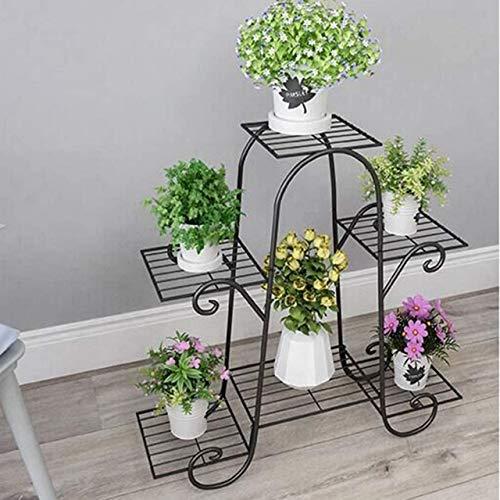 ZTMN Soporte de Planta de 6 Niveles, estantes de Flores de Metal de Estilo Europeo, exhibición de Soporte para macetero para decoración de Interiores y Exteriores