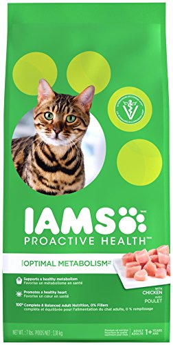 IAMS PROACTIVE HEALTH OPTIMAL METABOLISM Healthy Weight Adult Dry Cat Food with Chicken, 7 lb. Bag