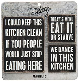 """Primitives By Kathy- 3 Pc.- Kitchen Magnet Set- 5.50"""" Square, 3"""" X 4"""", and 2"""" Square"""
