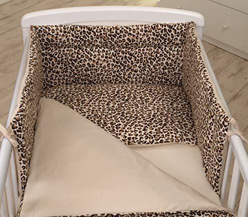 3 PIÈCES Ensemble literie pour lit d'enfant & lit bébé linge de lit 100% Coton (Panthère/Animaux Motif, 120x60cm)