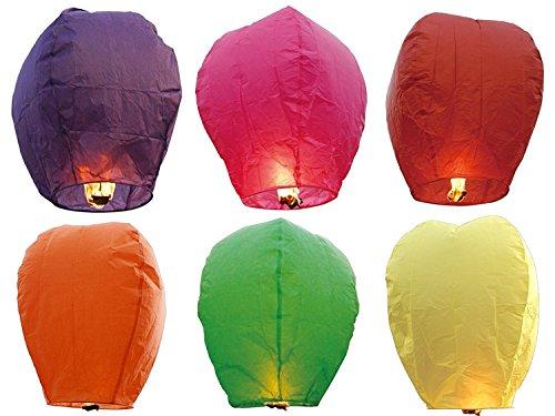 Hemore 12lanternes Volantes 101,6cm de Hauteur Ballons à air Chaud–6Couleurs Assorties