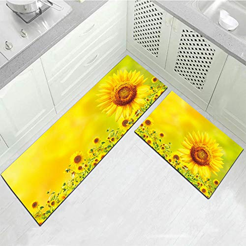 girasol2 Piece Non-Slip Kitchen Mat Antideslizante Alfombra de Lavable Aceite Resistente Manta Larga Decorativa para Baño Comedor Dormitorio Impermeables Antideslizantes 40x60cm+40x120cm