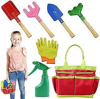 AGAKY Herramientas de Jardín para Niños, Kit Jardineria Niños 7 Piezas con Bolsa de Herramientas, Regadera, Paleta de Man...