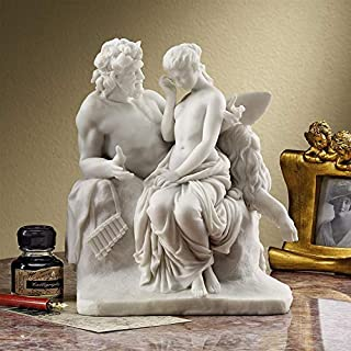 Design Toscano Pan Comforts Psyche Greek Replica Statue, 8 Inch, Bonded Marble Polyresin, White