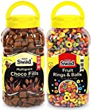 Choco Fills & Fruit Rings N Balls Combo of 2 Jars (Chocolate Milk Cereal Fruit Loop Balls for) Jar 680 g