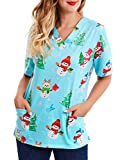 Women Mock Wrap Top Holiday Christmas Print V Neck Shirt, Snowman Light-Blue (X-Large)