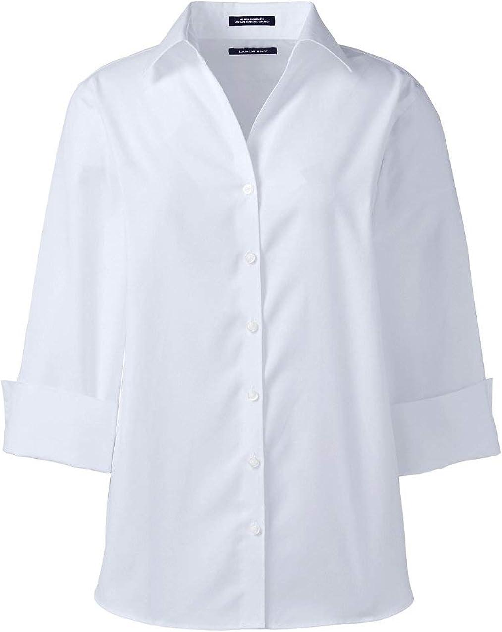 Lands' End Women's 3/4 Sleeve No Iron Broadcloth Shirt