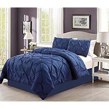 4 Pieces Solid Navy Blue Pinch Pleat Goose Down Alternative Comforter Set QUEEN Size Bedding
