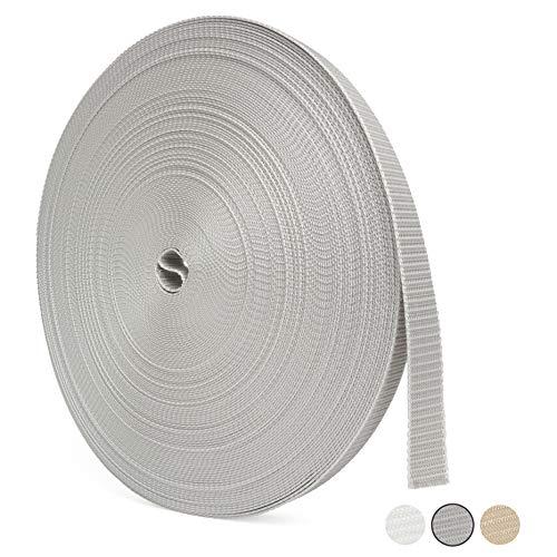 BAUHELD® Rolladengurt 23mm [Made in Germany] - 50m Rolle in 1,6-1,9mm Stärke - für Rolläden an Türen und Fenstern geeignet – Rolladen-Gurtband in Grau [Hohe Reißfestigkeit und UV-Stabilität]