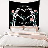 Hidecor Skull Tapestry Together Forever Love Theme Hand Bone Combine Heart Arm Skeleton Wall Hanging Polyester Blanket for Lover Bedroom Living Room Dorm Decor Valentine's Day Decor 47.2'x47.2'