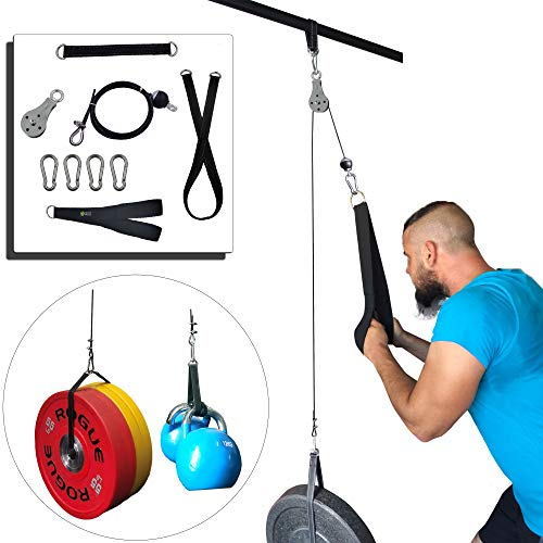 J Bryant Fitness Pulley Cable Machine Attachment System Arm Biceps Triceps Blaster Hand Strength Training Home Gym DIY Workout Equipment (Pulley Machine)