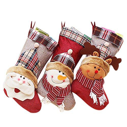 FREESOO 3pcs Calze Natale, Decorazione di Natale Sachetto Regalo Babbo Natale per Festa Natale Bambino Amico Casa Supermercato 23.5*46*27cm