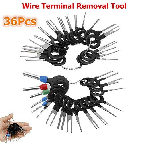 Queta 36 Stück KFZ Kabel Stecker Pin Extractor Tool Ausbau Werkzeug Terminal Steckverbindung Demontage Entriegelungswerkzeug Auspinn Werkzeug