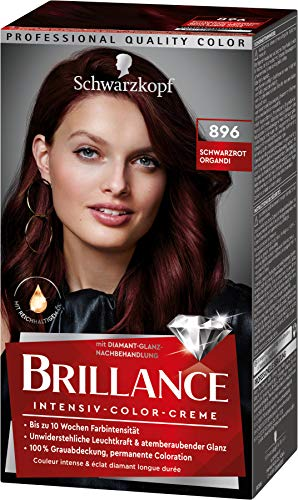 Brillance Intensiv-Color-Creme Haarfarbe 896 Schwarzrot Organdi Stufe 3, 3er Pack(3 x 160 ml)
