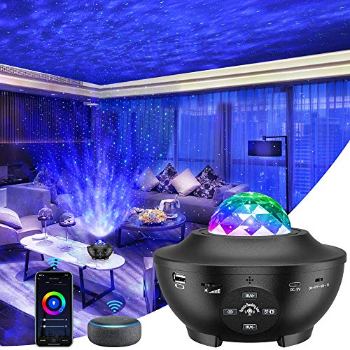 Galaxy Projector 3 in 1 Smart Star Projector Sky Lite with Alexa,Google Assistant for Baby Kids Bedroom/Game Rooms/Home Theatre/Night Light Ambiance with Bluetooth Music Speaker(BLACK)