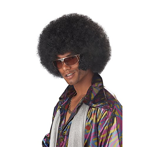 Men/'s Black Afro Wig with Facial Hair Beard Adult 60/'s 70/'s 80/'s Fancy Party