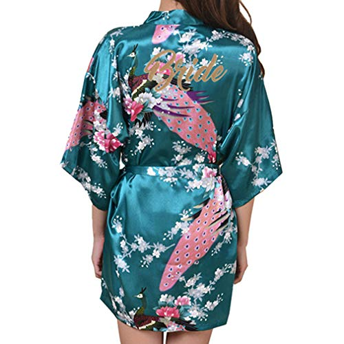 Yying Mujeres Seda Satén Noche Bata Corta Boda Novia Togas Floral Peacock Kimono Bata Albornoz Sexy Bata