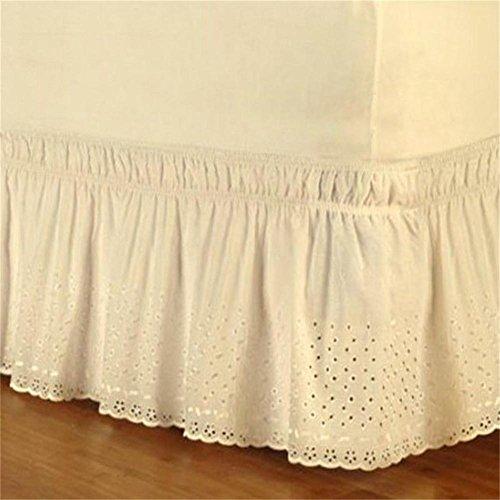 Bett Rock Wrap Aro& Easy Fit Baumwolle Sticken Frittierte Volant Tagesdecke Elastic Dust Ruffle Matratzenbezug