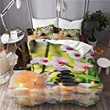 Juego de 3 fundas de edredón para ropa de cama, funda de edredón con 2 fundas de almohada, tema de spa de masaje con velas, piedras de orquídeas en el jardín, japonés oriental, funda de cama de microf