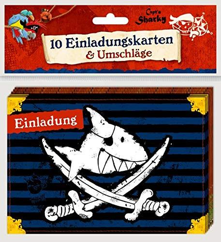 Einladungskarten - Capt'n Sharky - Einladung: 10 Einladungskarten mit Umschlägen (2 Designs)