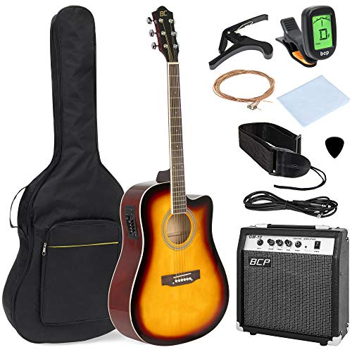 Best Choice Products 41in Full Size Acoustic Electric Cutaway Guitar Set w/ 10-Watt Amp, Capo, E-Tuner, Case - Sunburst