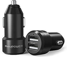 RAVPower カーチャージャー 2Pack (2ポート 24W/4.8A 急速充電) iPhone/iPad/Android/IQOS 等対応 RP-VC006(ブラック)