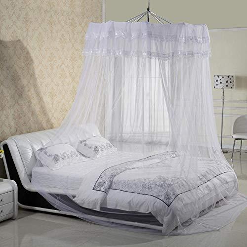 WUANNI Insektennetz Betthimmel FüR Doppelbett & Einzelbett,Sommerprinzessin und andere verschlüsselte Moskitonetze mit abgehängter Decke-Beige_150 * 200