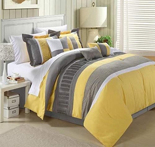Chic Home 43CQ111-AN 8-Piece Embroidery Comforter Set, Queen, Euphoria Yellow