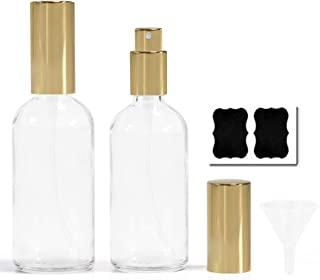 Empty Glass Spray Bottles Set Refillable Container for Essential Oils Perfume Cleaning Products 100ml/3.4oz Bottles with Funnel Lables Fine Mist Spray 2Pack (White)