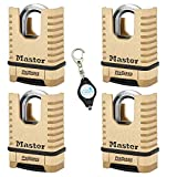 Master Lock 1177D 2-1/4in (57mm) Wide ProSeries Shrouded Brass Resettable Combination Padlock, 4 Pack Bundle w/Lumintrail Key Chain Light