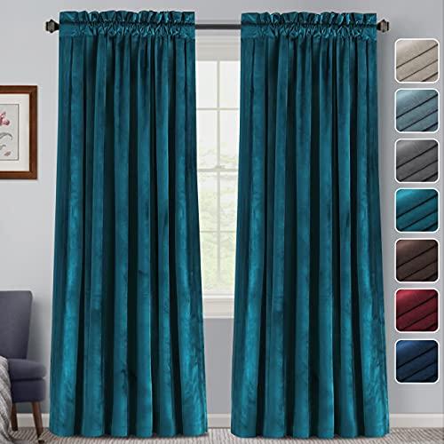 FantasDecor Velvet Blackout Curtains 84 Inches Long Luxury Velvet Window Curtain Drapes Draperies for Living Room/Bedroom Rod Pocket Velvet Drapes Home Decoration Insulated Curtain, 2 Panels, Teal
