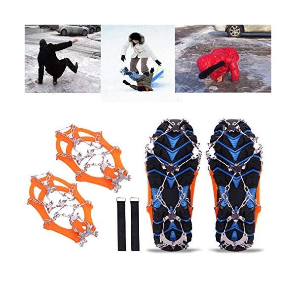 Rakaraka Crampones Nieve Hielo, 19 Dientes Tacos de tracción Nieve y Hielo Tracción para Invierno Deportes Montañismo… 2