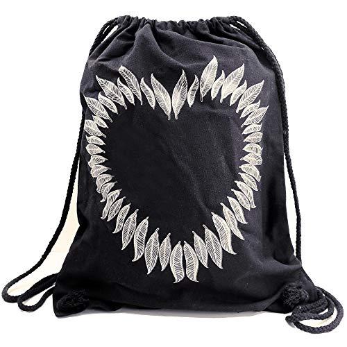 PREMYO Bolsa de Cuerdas Saco de Gimnasio Deporte Mochila Mujer Hombre con Impresión Corazón de Plumas Práctico Cómodo Cordón Robusto Algodón Negro