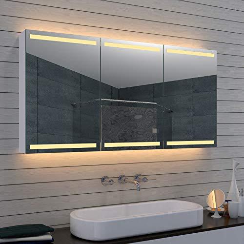Lux-aqua Alu Badezimmer Spiegelschrank Badschrank Kosmetikspiegel MLA1470-D1, Silber, 1400mm x 700mm x 127mm