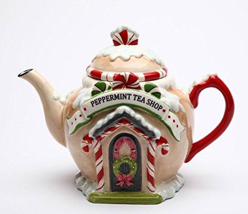 Fine Ceramic Hand Painted Christmas Peppermint Candy Cane Tea Shop Gingerbread House Teapot, 8-7/8' L
