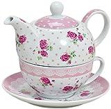 Tea for one Set 3-teilig Porzellan Teekanne mit Tasse und Untertasse mit Rosen und Blumen Motiv...