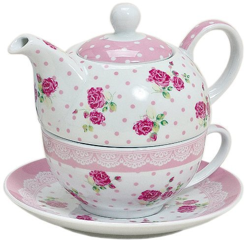 Tea for one Set 3-teilig Porzellan Teekanne mit Tasse und Untertasse mit Rosen und Blumen Motiv (Rosa)