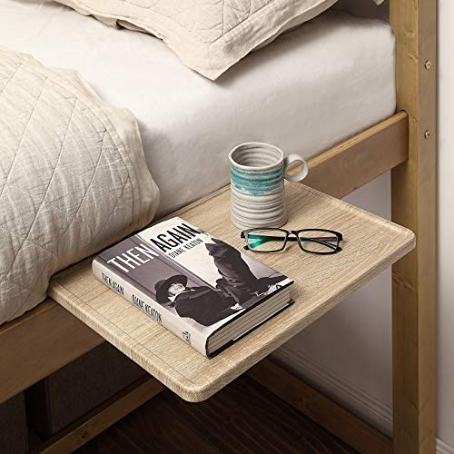 SunnyPoint Bedside Shelf, Office Divider Shelf; Clamp on Shelf for Bunk Bed, Lofts & Bed Frame, and Office Divider (L -17' X 11.6' X 2.3', Natural Wood)