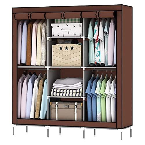 Home Ware Guardaropa Ropero Rack Armario Armable Organizador De Ropa y Zapatos Closet Portatil (Marron)