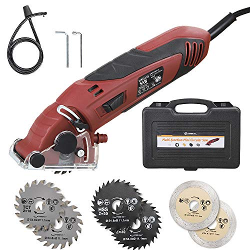 Anbull Mini Circular Saw Set 400W High Powered Multifunction Circular Saw Machine with 6 Carbide Tipped Blade for Cut Wood,Drywall,Tile,Metal,PVC Plastic Pipes (Red)