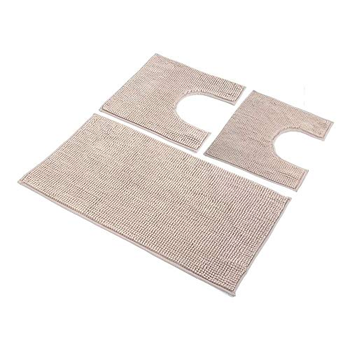 HomeLife: Set Tappeti Bagno 3 Pezzi in Microfibra [45X75 + 40X45 (2 Pezzi)] - Parure tappetini Bagno Shaggy a Pelo Corto con Tappetino e 2 Girowater/Girobidet - Lavabile Lavatrice - (Beige)