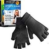 BreoLife Copper Arthritis Compression Gloves, High Copper Infused Compression Gloves for Men and Women, Pain Relief and Healing for Arthritis, Carpal Tunnel, Typing and Daily Work (Medium)