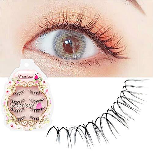 Dorisue Eelashes Natural look wispies Short lashes 3D natural looking eyelashes LightWeight eyelashes 4 Pairs lashes pack
