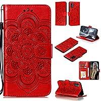 電話のレザーケース ホルダー&カードスロット&ウォーリー&ストラップ付きギャラクシーA41マンダラエンボスパターン水平フリップPUレザーケース用 (色 : Red)