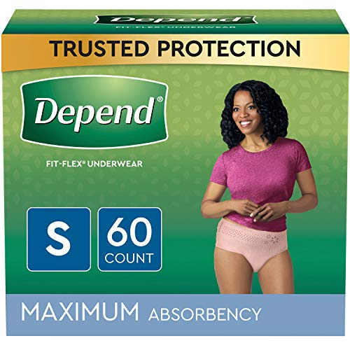 Depend FIT-FLEX Incontinence Underwear For Women, Disposable, Maximum Absorbency, Small, Blush, 60 Count (2 Packs of 30) (Packaging May Vary)